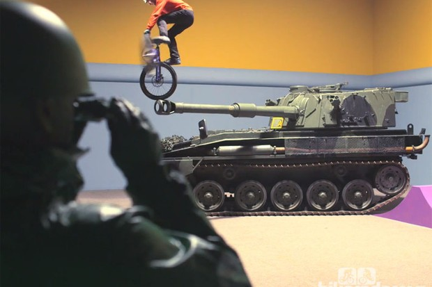 It's as easy as falling off a tank: Danny MacAskill doesn't quite nail a trick in Imaginate