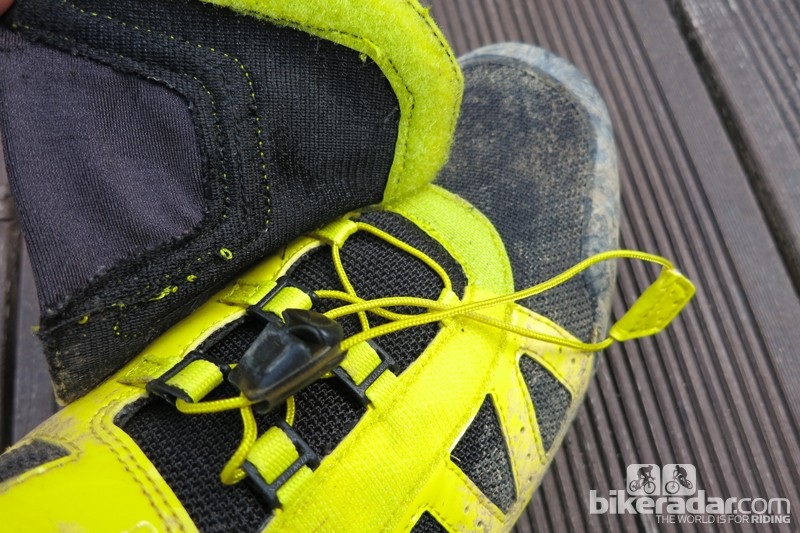 The quick-lace system is covered with a Velcro flap