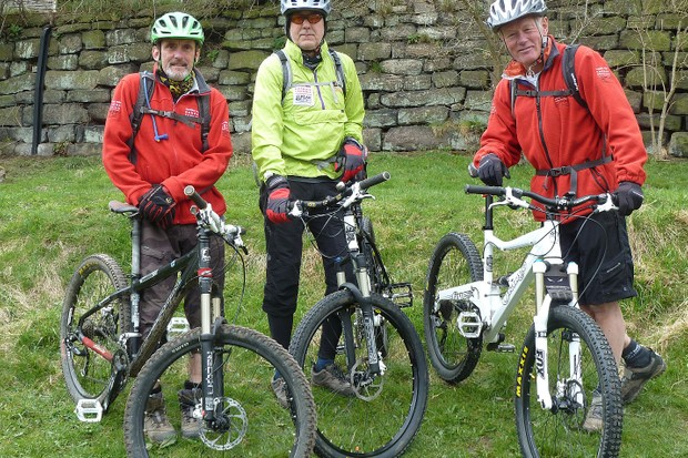 Peak District National Park rangers Martyn Sharp, Terry Male and Terry Page ready to go out on mountain bike patrol