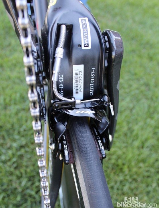 TRP brakes are tucked under the BB and behind/inside the fork