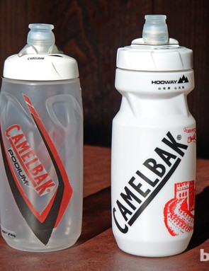 The new Camelbak Podium bottle (left) is a tad shorter and more sleekly shaped than the original (right)