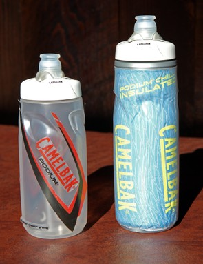 Camelbak will offer the new Podium bottle in uninsulated (left) and insulated 'Chill' (right) versions in both 650mL/21oz and 750mL/24oz sizes