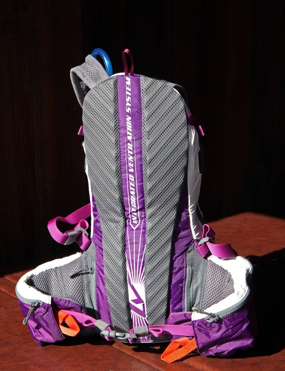 Built-in corrugated foam panels on the back of the Camelbak Spark 10 women's hydration pack cushion the wearer from heavy or sharp loads while also creating a bit of airspace for ventilation