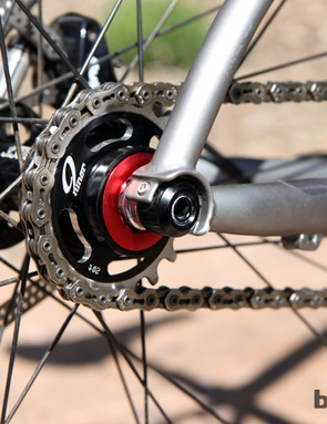 The cast thru-axle dropouts on the new Niner ROS 9 are borrowed from the SIR 9 hardtail and can be configured for geared or singlespeed use