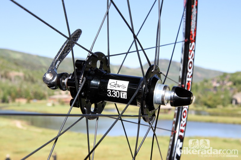 The top-end Stan's NoTubes Iron Cross Pro disc wheelset will use the company's 3.30Ti hubset plus DT Swiss Revolution spokes laced in a two-cross, 24/28-hole pattern