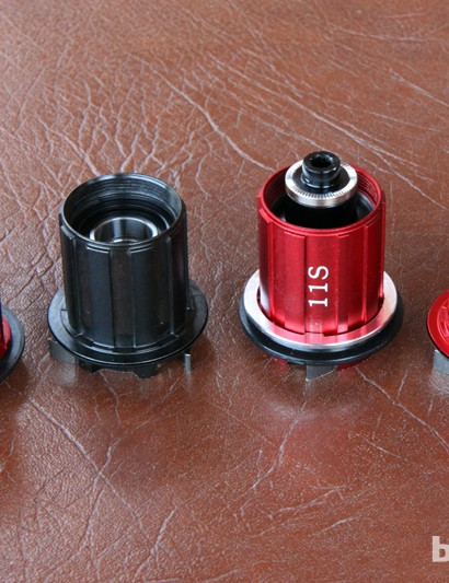 Stan's NoTubes' available freehub bodies include (from left to right) Campagnolo, SRAM/Shimano 10-speed in steel, SRAM/Shimano 11-speed in aluminum, and the new SRAM XD standard