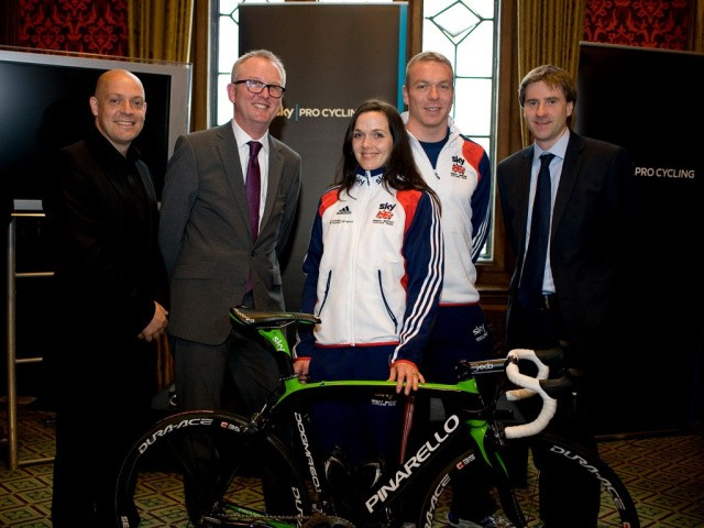 L-R: Dave Brailsford, Ian Austin MP, Victoria Pendleton, Sir Chris Hoy and Steve Brine MP at the 2011 All Party Parliamentary Cycling Group reception