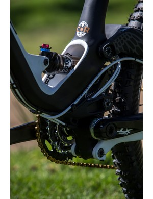 The rear shock is neatly contained within the GT Force's carbon frame
