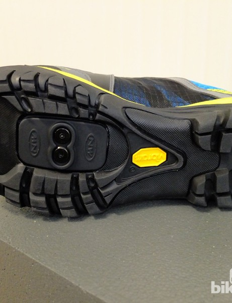 Rugged Vibram sole with cleat fitting