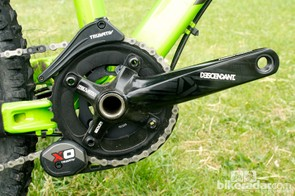 The SRAM X0 chainguide and 36T Truvativ Descendant cranks provide a solid front end to the drivetrain
