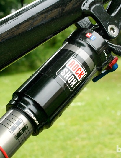 A RockShox Monarch RT3 shock gives the rear of the bike 150mm of travel