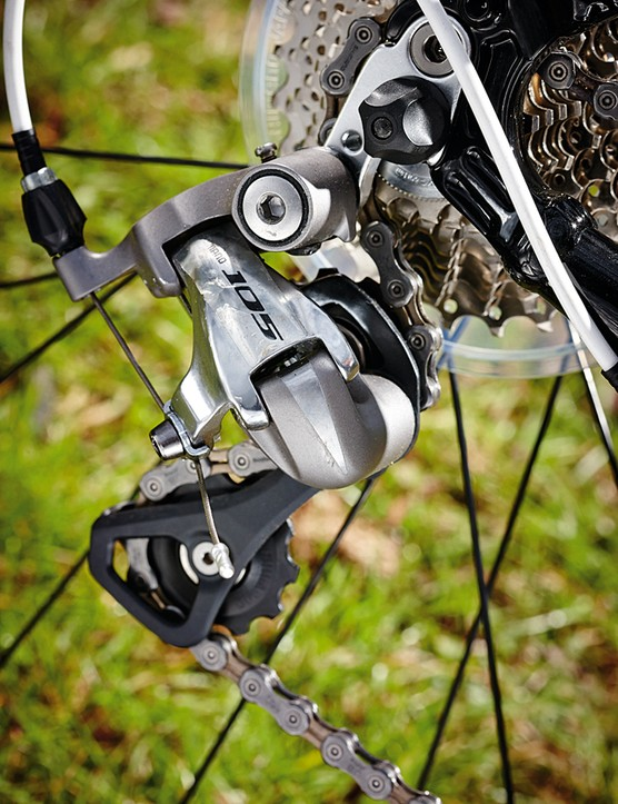 It's a Shimano 105 mech and shifters but mainly Tiagra kit