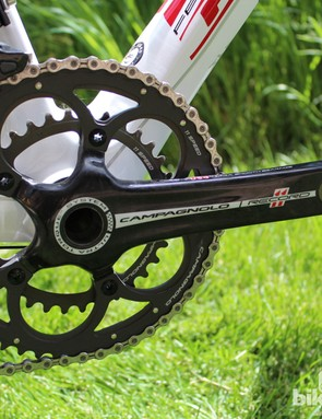 This particular show bike is equipped with a compact 50/34 crank