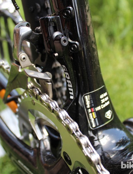 A chain catcher comes standard on the new SRAM Red 22, as does the 'trimless' front derailleur