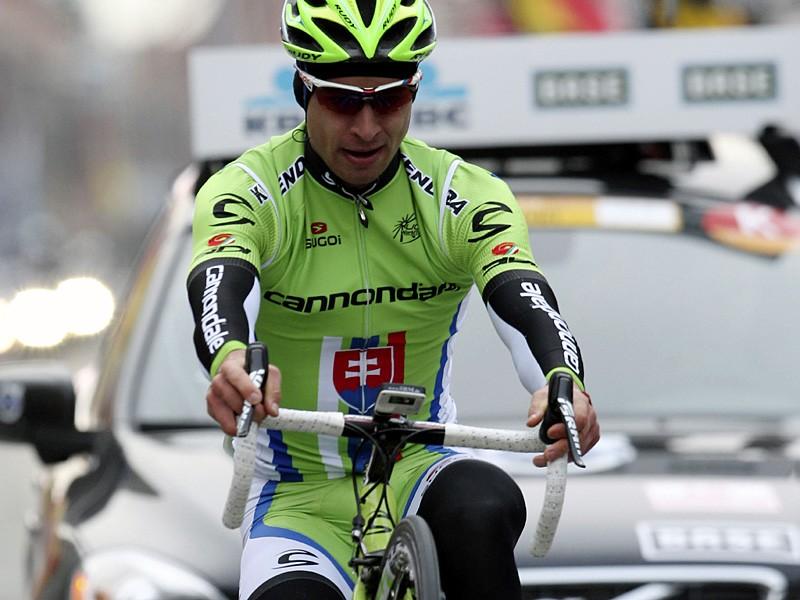 Peter Sagan wheelies across the line to win this year's Gent-Wevelgem