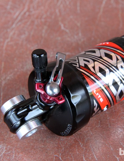 Adjustments on the new Marzocchi Roco Lite cross-country rear shock are limited to air preload, rebound damping, and lockout. Compression damping is preset at the factory