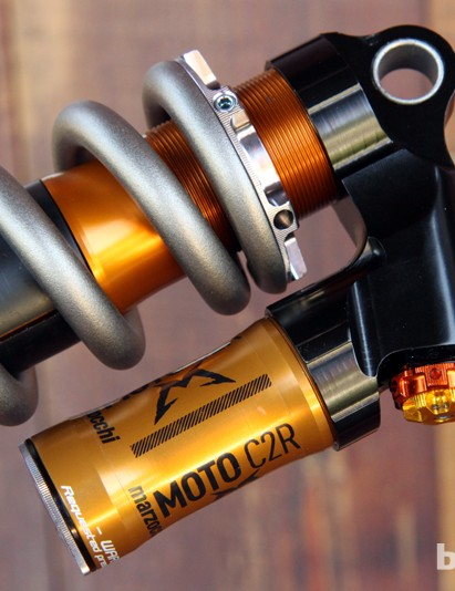 The body, cap, and oil reservoir of Marzocchi's new Moto C2R rear shock are all externally machined to reduce weight