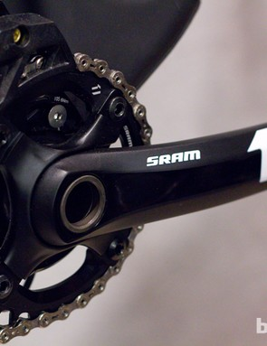 The X01 cranks keep the alternately thick and thin teeth of the SRAM XX1, for chain retention; the cranks shown have alloy arms