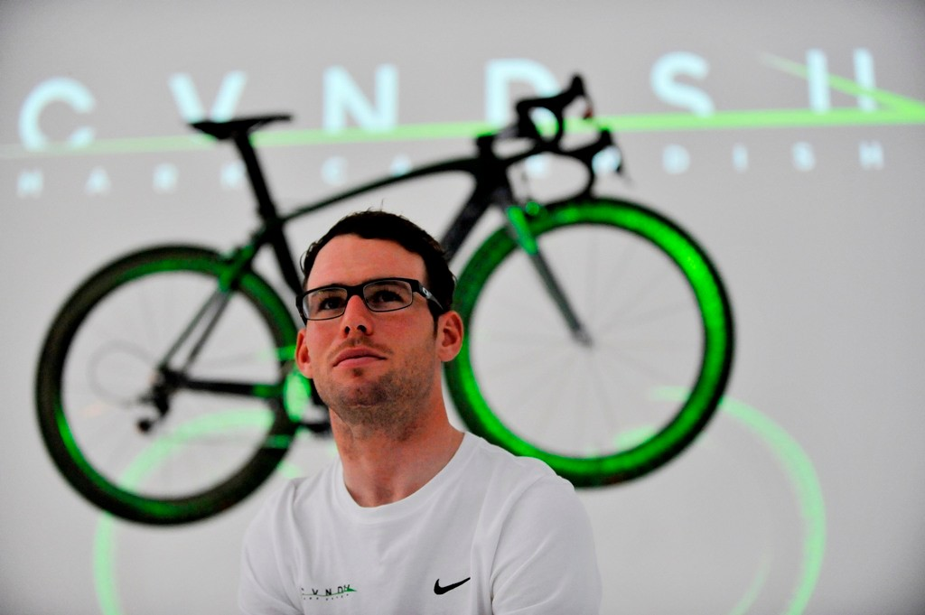 Mark Cavendish at the launch of his new brand, CVNDSH