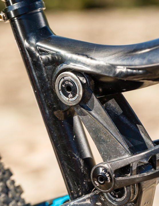 Main pivot bearings are inset into the frame, rather than the chainstay or linkage, to help protect them from the weather and make them easier to remove or install