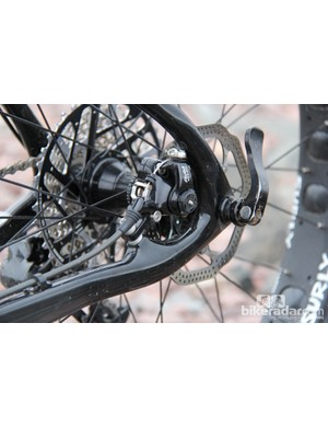 The rear brake is also post mount, and is tucked neatly between the seat and chain stay; the rear end uses a thru axle, too