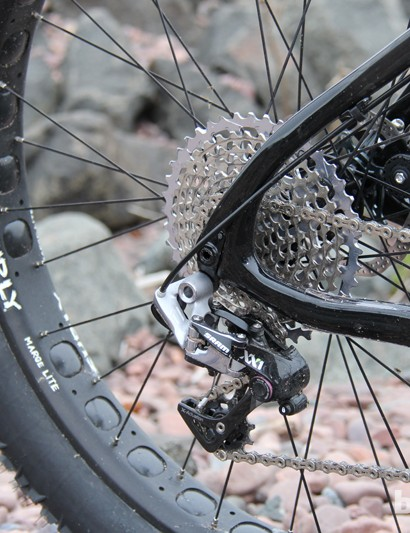 A 28-tooth chainring paired with SRAM's 10-42 XX1 cassette provides plenty of gears for rock-crawling