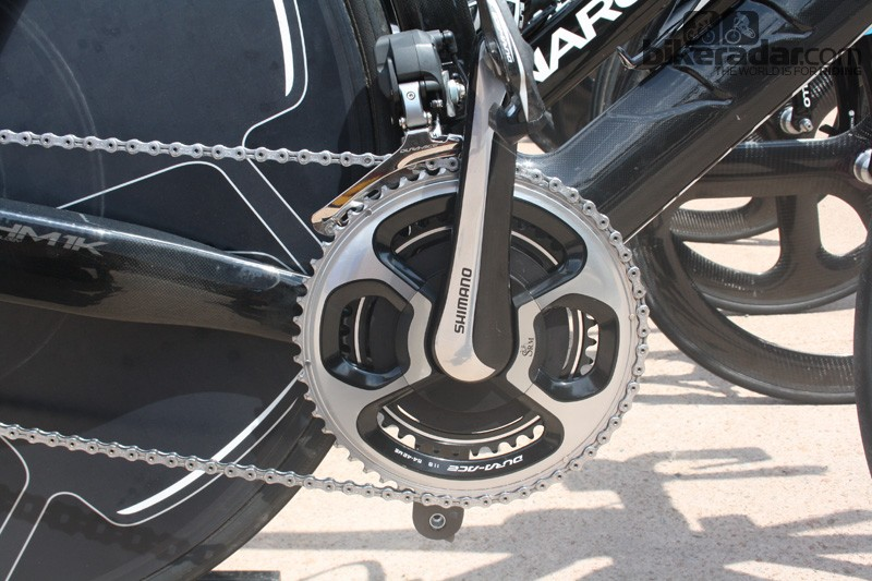The Dura-Ace 9000 SRM-specific crank