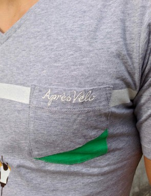 A small chest pocket is stitched onto the Finish Line shirt