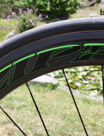 Zipp 404 Firecrests continue the custom Tour de France green jersey coloured decals
