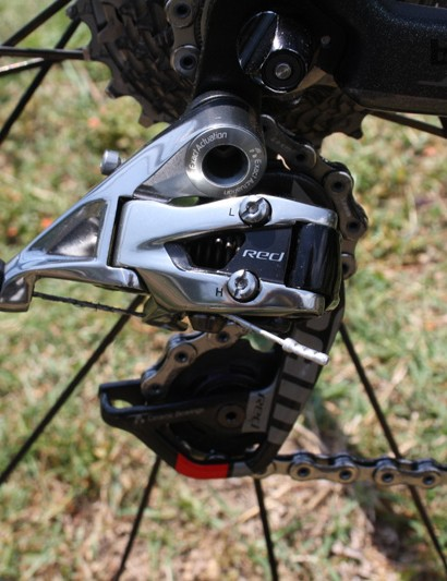 Cavendish is running SRAM's RED groupset with ceramic bearings