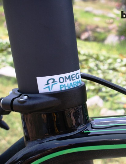 The Omega Pharma-QuickStep sticker marks seatpost height