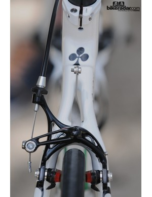 Campagnolo's elegant skeleton rear brake and Colnago seatstays