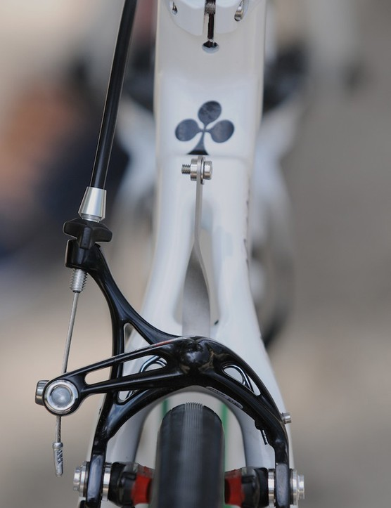 Campagnolo's elegant skeleton rear brake and Colnago seatstays
