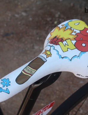 Rodriguez's cartoon custom Selle Italia SLR Monolink is a nod to his nickname (Purito) and his status as an explosive climber