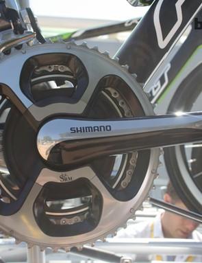 The new SRM-compatible Shimano 9000 crank on Simon Geschke's (Argos-Shimano) Felt F1