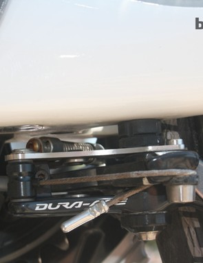 The fleet of 7-Series Treks have brakes mounted to the underside of the bottom bracket, time trial bike style