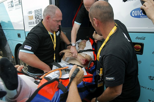Tony Martin (Omega Pharma) is taken to hospital after his crash in stage 1