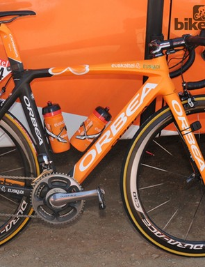 The Euskaltel-Euskadi team rode out on Orbea's new Orca Race, a more organic evolution on the previous model that is based on stack and reach measurements, rather than conventional seat-tube and top tube numbers