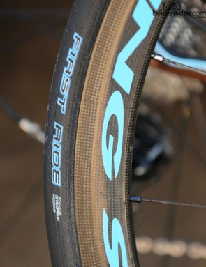 Tyre maker Schwalbe have a new tyre in the athlete-testing process. These tyres on the AG2R-La Mondiale squad bikes bear the maker's First Ride stamp on a model with a new diamond tread. It's called the One