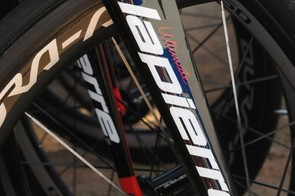 Thibaut Pinot's (FDJ) Lapierre Xelius EFi frame was carrying a modified fork, with the top front edge cut away to accept a Shimano Dura-Ace Direct Mount brake