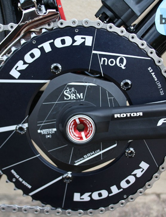 The only deviation from the Dura-Ace groupset is around the crank and bottom bracket: Spanish company Rotor provide the SRM crank and chainrings, and give the bike an edgy look