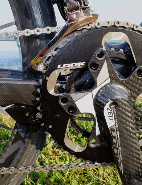 The Zed 2 crankset and rear aero brake behind