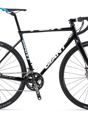 Giant's top-end aluminum CX offering is the TCX SLR 0 with SRAM Red 22, a Rotor 3DF crank, and Giant P-CXR1 wheels