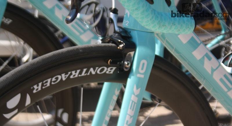 The new tyre has a prominent diamond tread