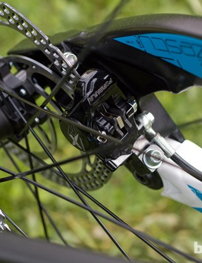 An inboard mounted disc brake keeps the calliper out of the way of mud and crash damage