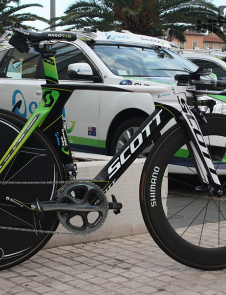 Simon Gerrans' (Orica-GreenEdge) Scott Plasma 3 – the platform that delivered him the yellow jersey, and the Australian team's second Tour de France victory in two days