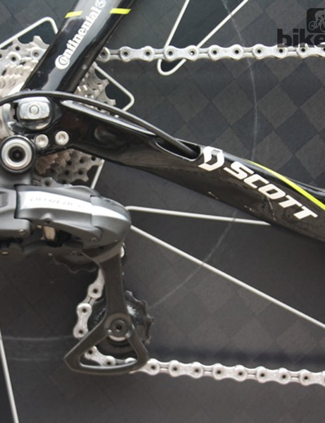 The Scott Plasma 3's radically shaped chainstays, with their internal cable routing, have been a defining feature of the bike since it was introduced in 2009