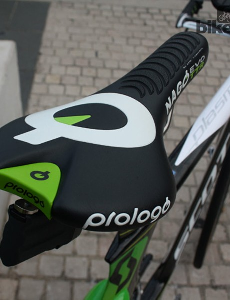 Gerrans' choice from the wide range of Prologo saddles is the ribbed Nago Evo TTR