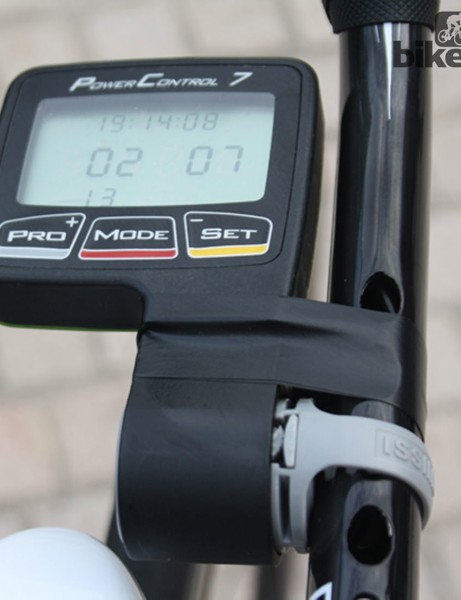 An SRM PowerControl 7 is mounted and taped for extra security