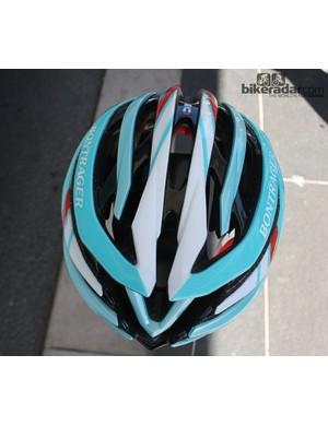 The helmet's first appearance was in RadioShack Leopard Trek's Tour de France colours